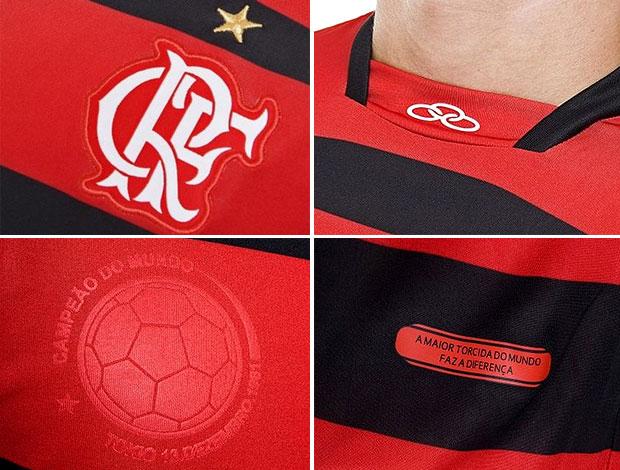 detalhes camisa Flamengo (Foto: Editoria de Arte / GLOBOESPORTE.COM)