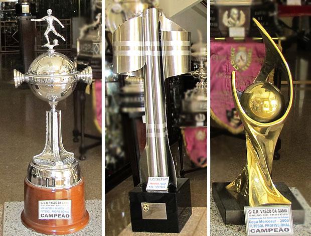 montagem troféu Vasco Brasileirão Libertadores Mercosul (Foto: Editoria de Arte / GLOBOESPORTE.COM)