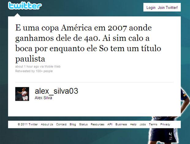 Twitter Alex Silva (Foto: Reprodução)