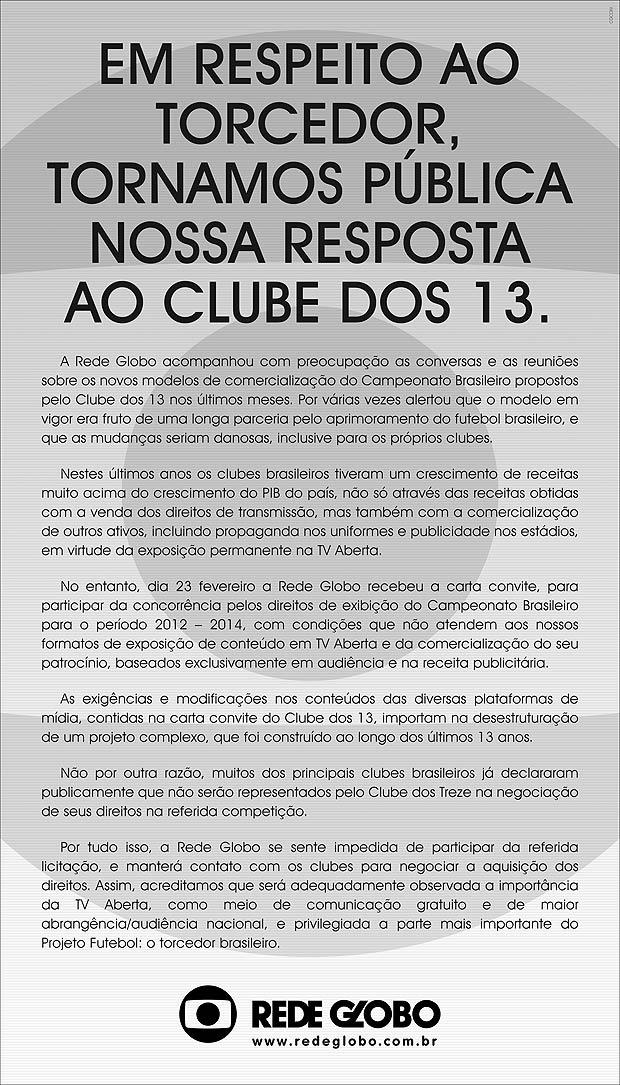 Carta da Rede Globo