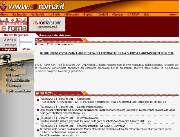Reprodução site roma (Foto: Reprodução)