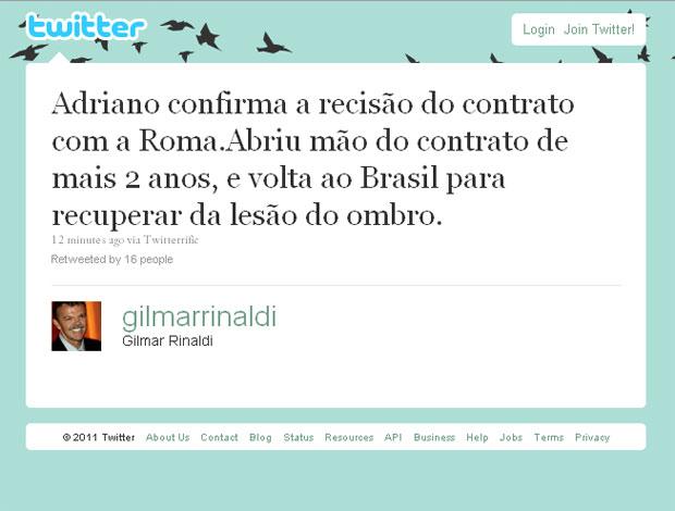 reprodução twitter gilmar rinaldi (Foto: Divulgação / Twitter)