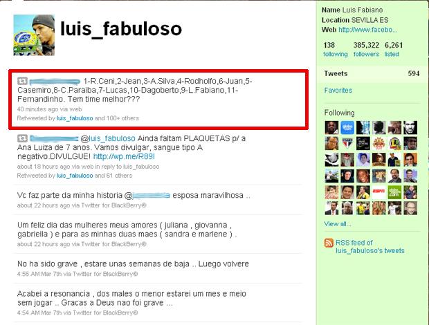 reprodução twitter luis fabiano sevilla (Foto: Divulgação / Twitter)