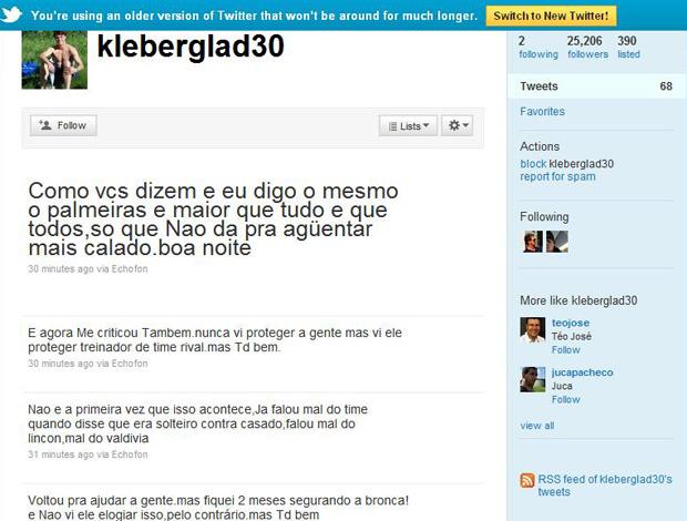 Reprodução twitter kleber gladiador palmeiras (Foto: Divulgação / Twitter)
