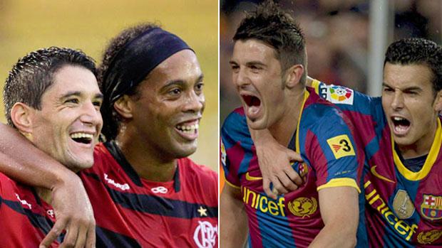 Montgem Ronaldinho, Neves, Villa e Pedro (Foto: Globoesporte.com)