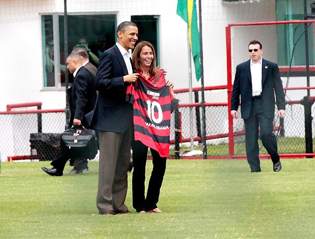 Patricia Amorim camisa flamengo barack obama (Foto: agência AP)