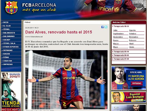 Daniel Alves site Barcelona renova contrato (Foto: Reprodução / Site Oficial)