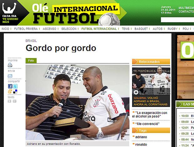 print Olé Ronaldo Adriano (Foto: Reprodução)
