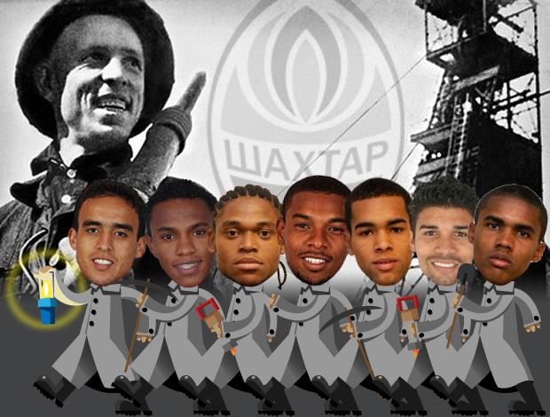ilustração jogadores brasileiros shakhtar 1 (Foto: ArteEsporte / Cláudio Roberto)