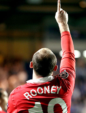 Rooney comemora gol do Manchester United contra o Chelsea (Foto: AFP)