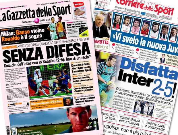 reprodução capa jornais gazzetta dellos sport e corriere dello sport (Foto: Editoria de Arte / Globoesporte.com)