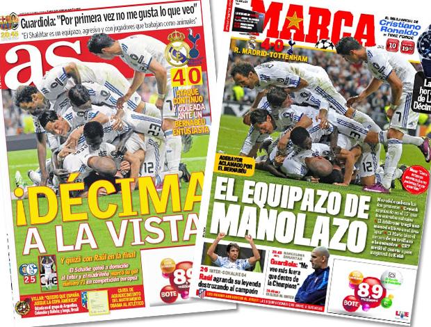 reprodução capa jornais as e marca espanha (Foto: Editoria de Arte / Globoesporte.com)