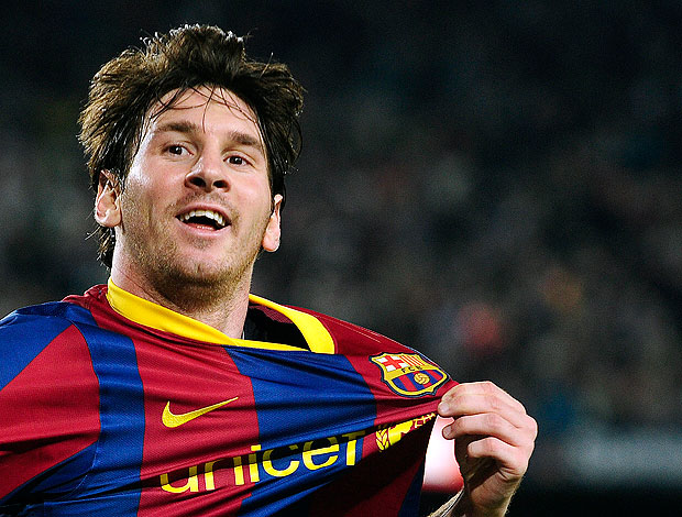 Messi comemora gol do Barcelona (Foto: AP)