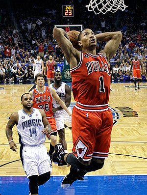 Derrick Rose na partida do Bulls contra o Magic  (Foto: AP)