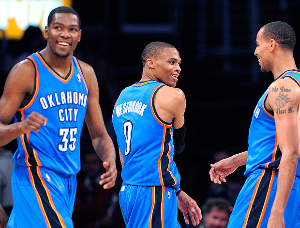 Kevin Durant e Russell Westbrook, Oklahoma City Thunder  (Foto: AP)