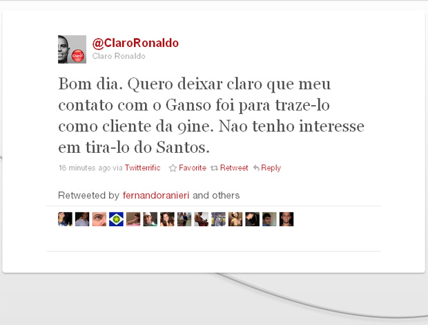 reprodução twitter ronaldo corinthians ganso cliente 9ine (Foto: Divulgação / Twitter)