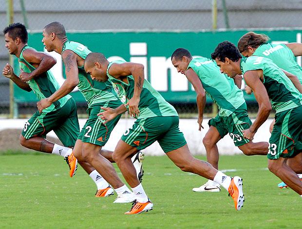 Emerson e jogadores no treino do Fluminense (Foto: Ivo Gonzalez / Agência O Globo)