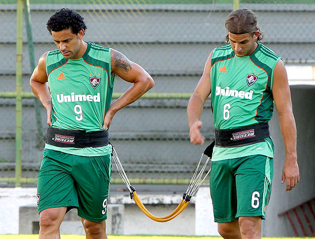 Fred e Rafael Moura no treino do Fluminense (Foto: Ivo Gonzalez / Agência O Globo)