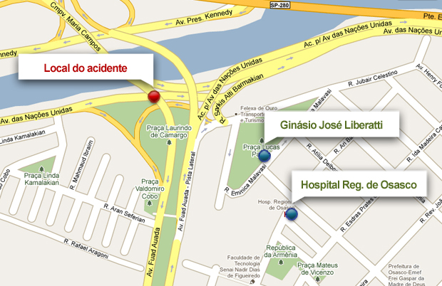 mapa acidente osasco (Foto: arte esporte)