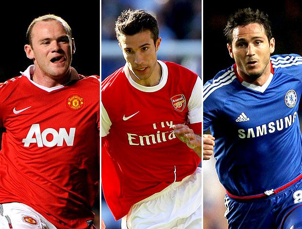montagem futebol inglês Rooney, Van Persie e Lampard (Foto: Editoria de Arte / GLOBOESPORTE.COM)