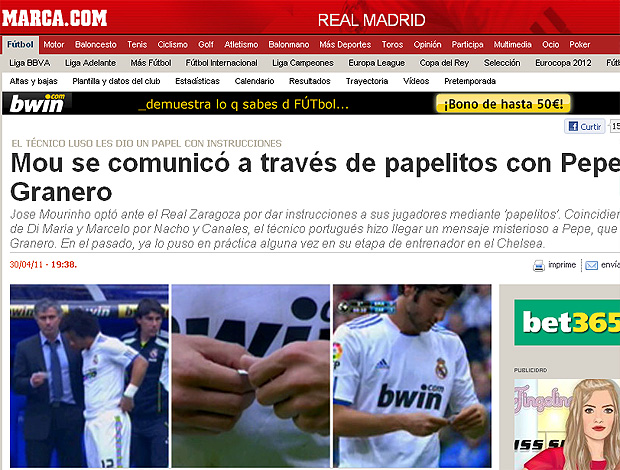 reprodução jornal  Marca.com mourinho papel granero pepe (Foto: Reprodução Jornal Marca.com)