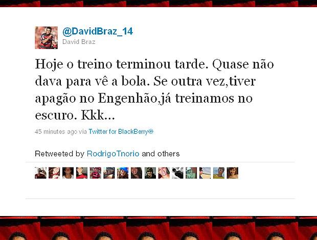 twitter David Braz apagão  (Foto: Reprodução / Twitter)