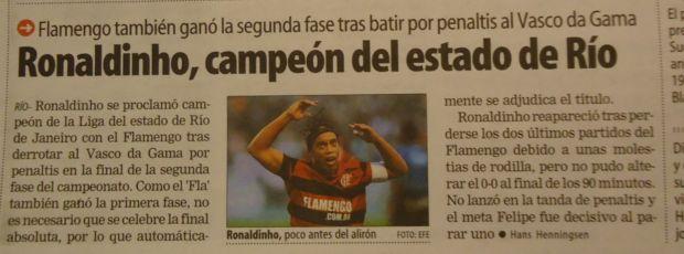 Jornais espanhóis destacam título do Flamengo de Ronaldinho (Foto: Thiago Dias/Globoesporte.com)