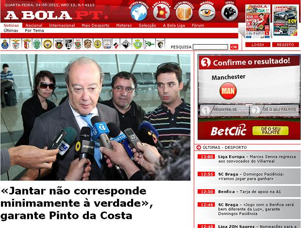 reprodução site a bola pinto da costa presidente do Porto (Foto: Reprodução abola.pt)