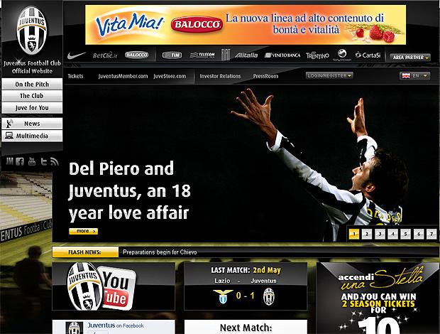 reprodução site juventus del piero (Foto: Divulgação / Site oficial do Juventus)