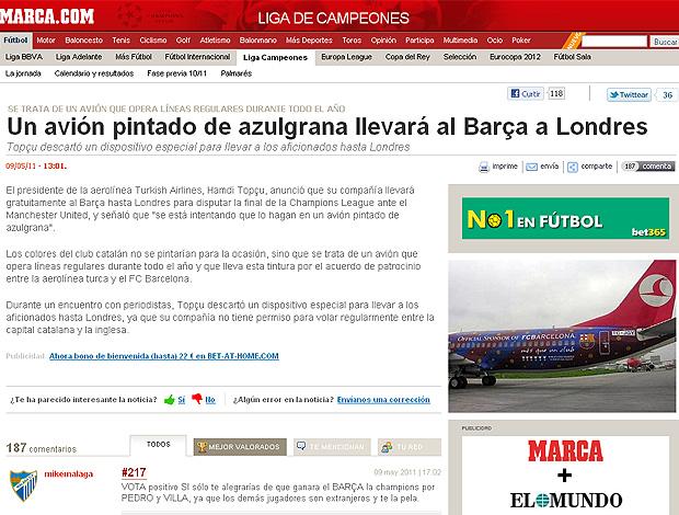 jornal Marca avião Barcelona reprodução (Foto: Reprodução / Marca.com)