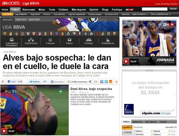 reprodução jornal as daniel alves barcelona (Foto: reprodução jornal AS)