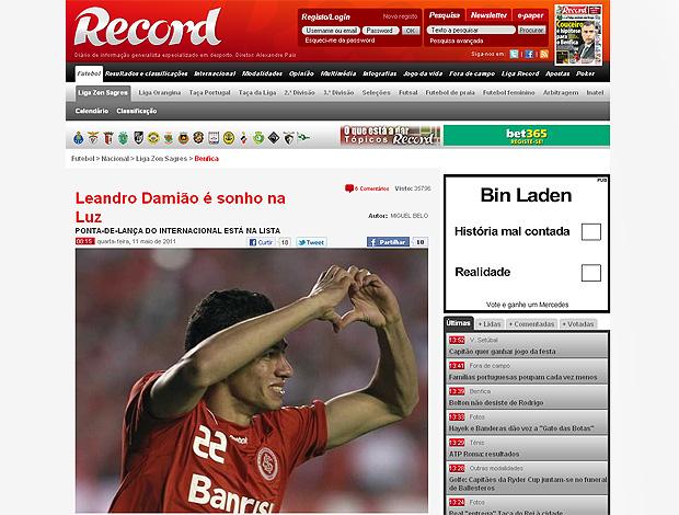 reprodução record leandro damião na mira do benfica (Foto: reprodução record.pt)