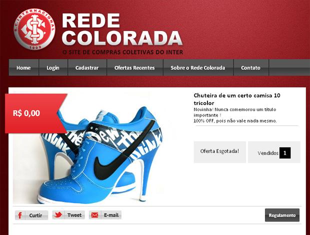 reprodução site rede colorada sandalia salto azul chuteira camisa 10 (Foto: www.redecolorada.com.br/site/)