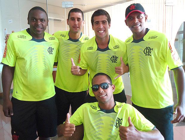 Time do Flamengo de  futebol de areia (Foto: Igor Christ / GLOBOESPORTE.COM)