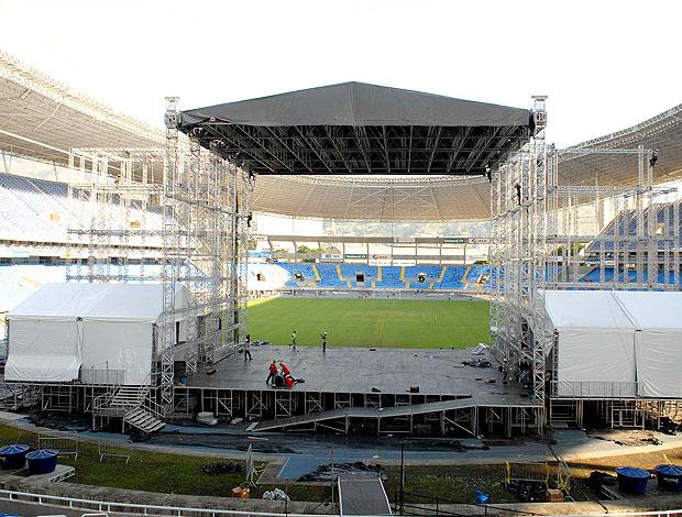 estado do estádio Engenhão após o show  (Foto: Alexandre Durão / GLOBOESPORTE.COM)