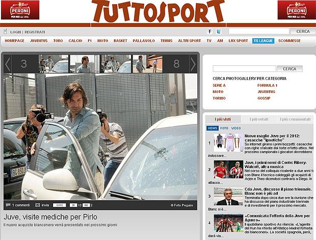 reprodução Tuttosport Pirlo exames médicos juventus (Foto: Reprodução Tutosport)