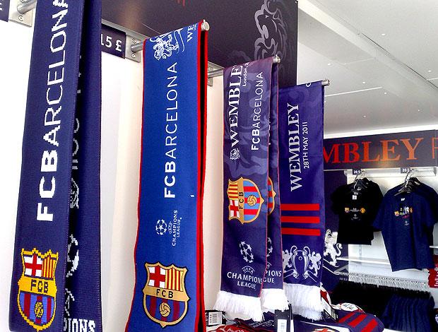 loja oficial da Liga dos Campeões em Londres (Foto:  Rodrigo Sirico / Globoesporte.com)