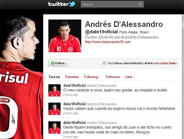 Twitter D'alessandro Internacional (Foto: Twitter)