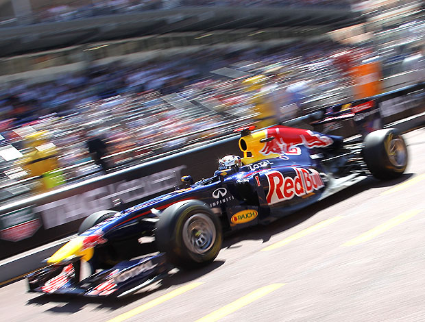 Vettel no treino de Mônaco (Foto: AFP)