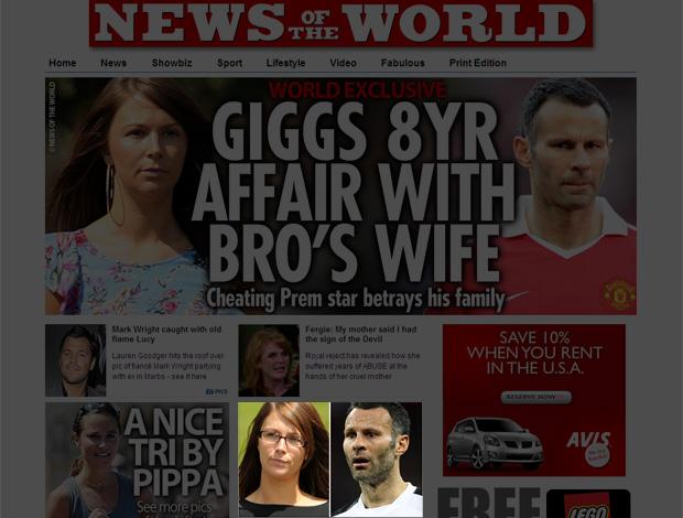 Ryan Giggs escândalo esposa do irmão (Foto: Reprodução / News of the World)