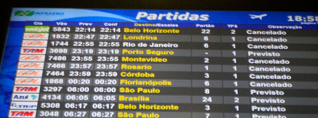 painel aeroporto vulcão (Foto: Agência Estado)