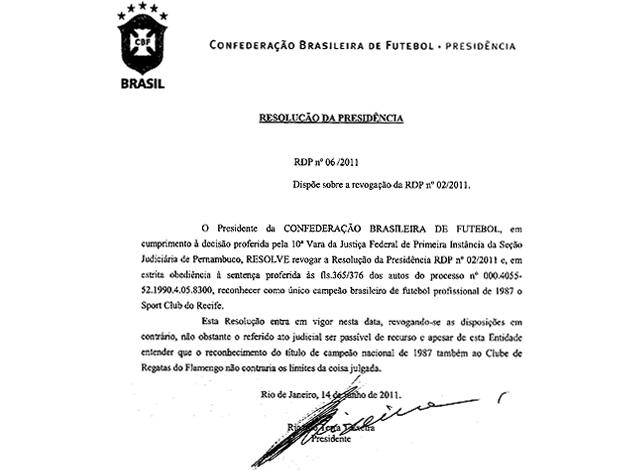 cbf documento título flamengo (Foto: reprodução/CBF )
