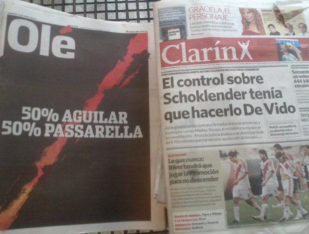 jornais argentinos drama river plate (Foto: reprodução)