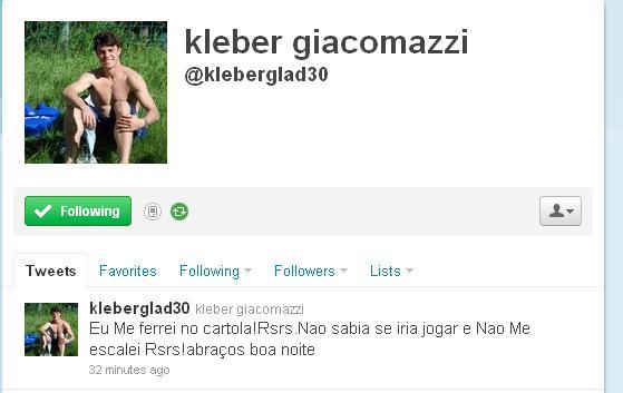 Kléber lamenta no twitter sua não escalação no Cartola FC (Foto: Reprodução)
