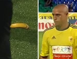 FRAME Banana é atirada em Roberto Carlos (Foto: Reprodução)