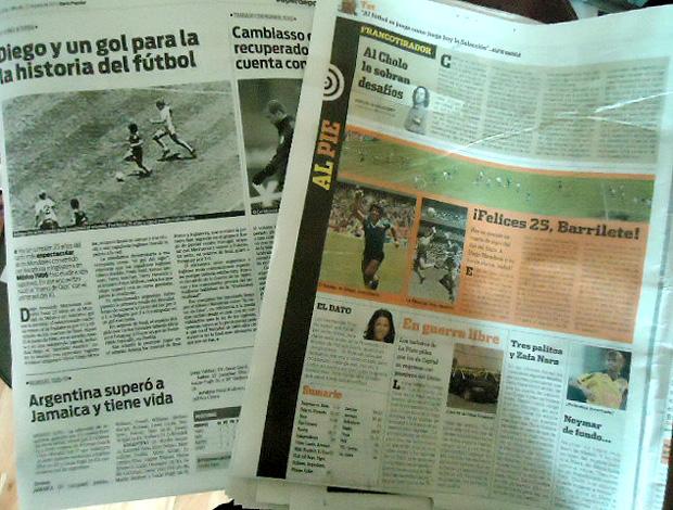 jornais argentina destacam gol de mão maradona inglaterra (Foto: Marcos Felipe / Globoesporte.com)