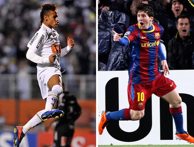 MONTAGEM - Neymar Santos e Messi Barcelona (Foto: Ricardo Saibun / Site Oficial do Santos e Agência Reuters)