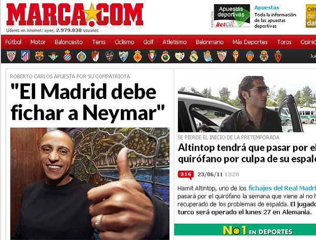 reprodução marca.com ROberto Carlos neymar real madrid (Foto: Reprodução Jornal Marca.com)