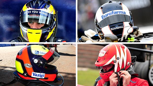 capacetes max wilson daniel serra david mufatto luciano burti (Foto: Duda Bairros / Stock Car)