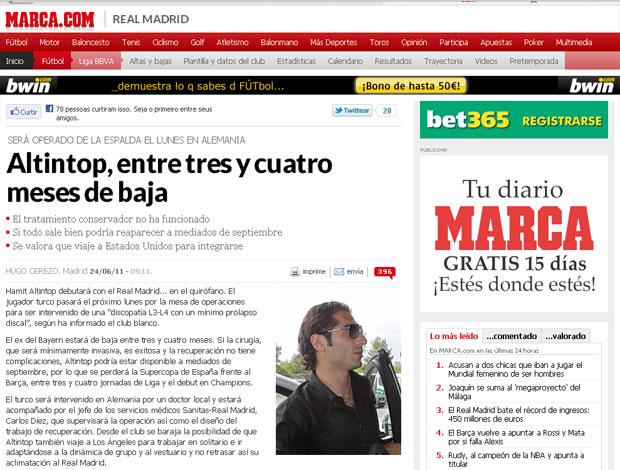 Reprodução Marca.com altintop real madrid operação (Foto: Reprodução Jornal Marca.com)